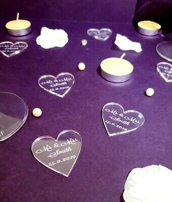 Personalised Mr & Mrs Heart Acrylic Wedding Table Confetti 40x40mm, 25 - 100pcs