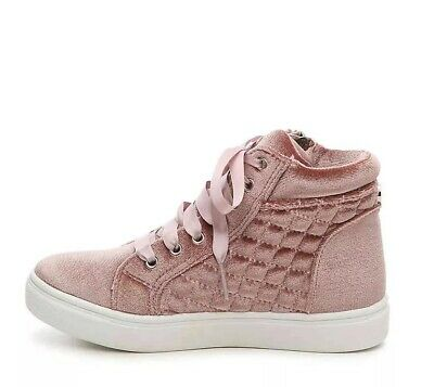 29e383c8cfd STEVE MADDEN GIRL'S Cafinev Velvet High-top Sneaker Size 12 Quilted Lace Up  Pink