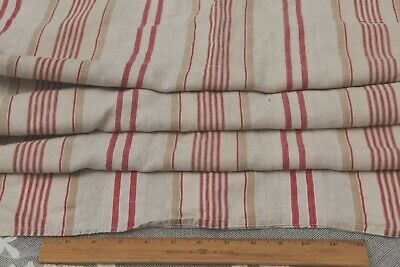 "Antique French Red & Tan Linen Ticking Stripe Fabric~L-49"" X W-49"""