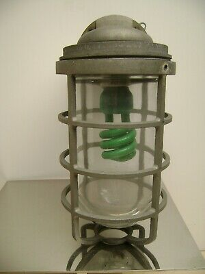 Salvaged Industrial Caged Outdoor Wall Mount Nautical Look Light Fixture