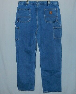 Men's Carhartt Double Front Knee Blue Jeans Size 39 X 34 B73 DST Tag 40 X 34