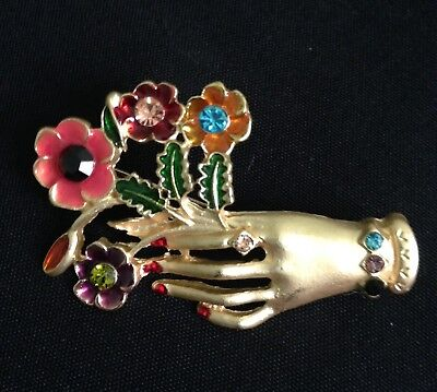 Vintage Art Deco Diamante 40S Style Gold Tone Hand Flower  Brooch
