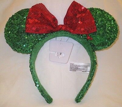 Disney Minnie Mouse Ears Red Green Sequin Headband w/ Bow Christmas Holiday Hat