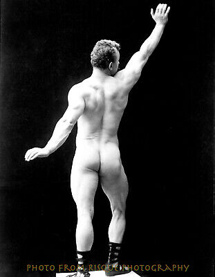 "Nude Man With Arm Raised From Behind 8.5x11"" Photo Print, Naked Male Bodybuilder"