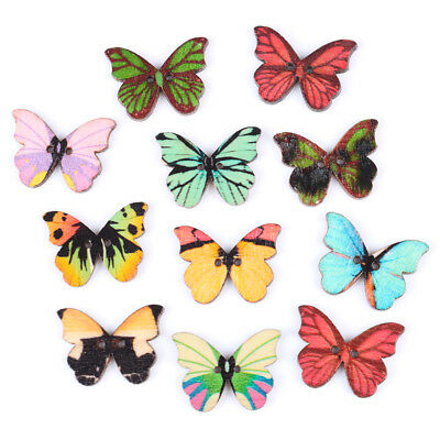 50pcs 2 Holes Mixed Color Butterfly Wooden Buttons Sewing Scrapbooking DIY BCDE