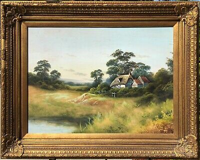 Large Antique unsigned Oil on Board Landscape with Quality Frame