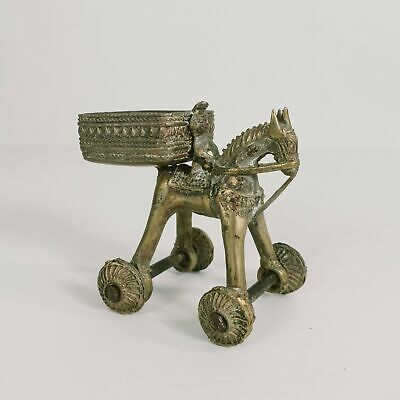 Antique Indian Brass Temple Toy Vintage Roll Toy Horse