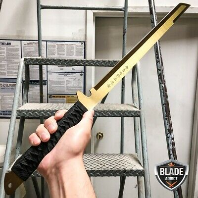 "27"" FULL TANG NINJA MACHETE KATANA SWORD ZOMBIE TACTICAL SURVIVAL KNIFE GOLD z"