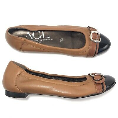 547d1a05fcca7 AGL Cap Toe Ballet Flats Buckle Brown Leather Black Patent Made in Italy  Size 40