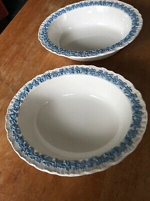 2 Wedgwood Queensware White On Lavender Shell Edge —SERVING BOWLS