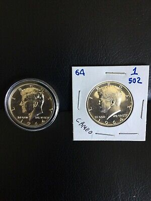 1964 Kennedy Half (2) GEM MIRROR PROOF, ACCENTED HAIR COIN and A CAMEO coin.
