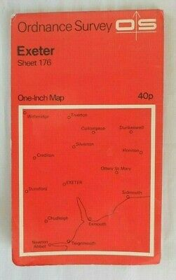 Vintage OS Ordnance Survey One Inch Map Red #176 Exeter 1967