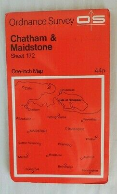 Vintage OS Ordnance Survey One Inch Map Red #172 Chatham & Maidstone 1970