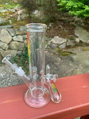 Beautiful  Glass Water Pipe Bong Straight Ice Catcher  8 Inch