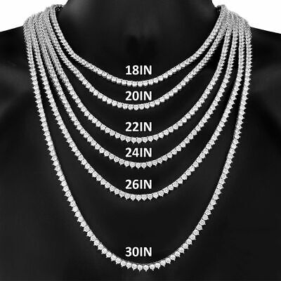 New Iced out 3 Prong One Row 14K White Gold Finish Tennis Necklace Chain 4mm
