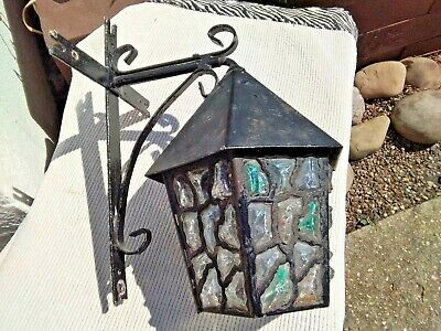 Vintage Black Metal & Thick Coloured Glass Lantern Outdoor Porch Wall Light