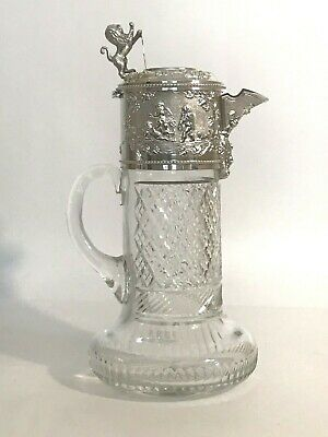Topazio Claret Jug Cut Crystal with Silver Plate Mount Lion Shield