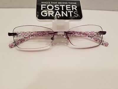 Foster Grant Plum Slim Rimless Women's Reading Glasses +2.00 (Daniella)