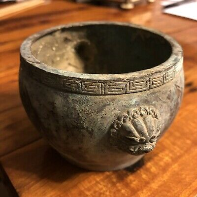 Old Antique Style Chinese Brass Bowl Dual Lion Heads Bronze Asian Dynasty
