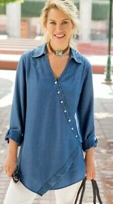 db3afd8476b SOFT SURROUNDINGS Women's Blue Chambray Washed TENCEL TUNIC Asymmetric  Pmedium