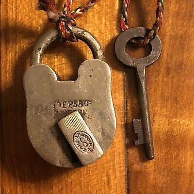 Antique 1800s Brass Lock & Key Collectible Padlock Steampunk Tool Old Authentic