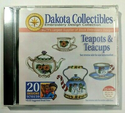 Dakota Collectibles Embroidery software Teapots Teacups 20 Designs NEW