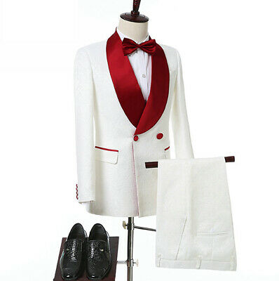 White Printed Formal Wedding Prom Suits Double Breasted Slim Groom Red Lapel NEW