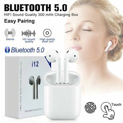 New i12 TWS Bluetooth 5.0 Headset Sport Headphone Touch Control Earbuds Earphone