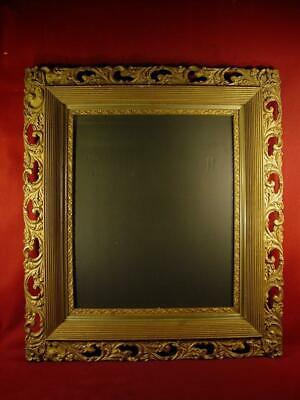 LARGE ANTIQUE EARLY 1900s ORNATE CARVED WOOD PICTURE FRAME 31X35 WITH GLASS