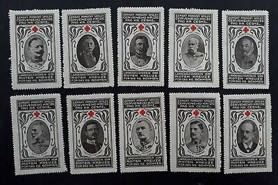 RARE 1880s- Austria -Hungary lot of 10 Red Cross Cinderellas Mint
