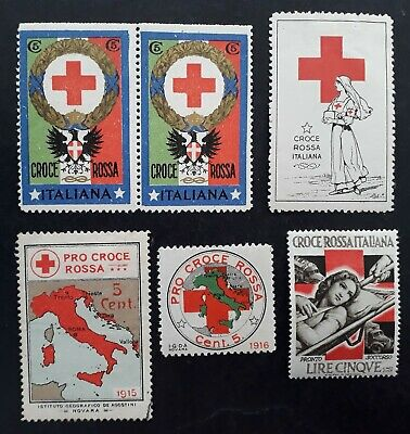 RARE c1915 Italy lot of 6 Red Cross Cinderella stamps Mint / MUH