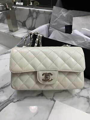 e44fbce8bde629 2017K Chanel Classic Mini Flap Bag Quilted White Treated Calfskin Silver Cc
