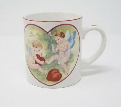 Valentine's Day Gift Coffee Mug Cupid Cherub Angels Sewing Red Hearts Love Cup