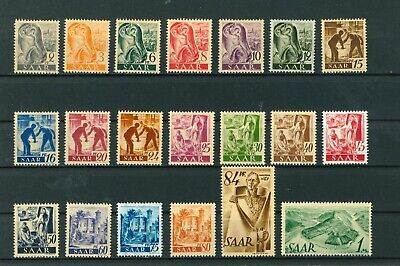 Germany Saar 1947 French Zone full set of stamps. Mint. Sg 203-222.
