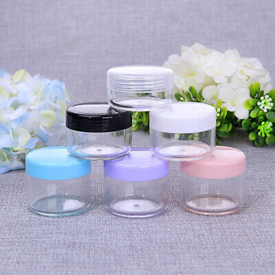 10X Empty Plastic Sample Travel Cosmetic Jar Box Containers Round Makeup PotChic