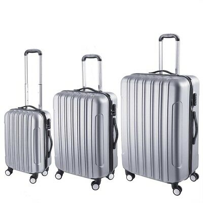 3pcs Luggage Suitcase Trolley Set Lightweight Lock Carry On Bag Hard Case Silver