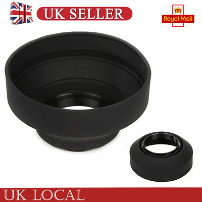 58mm 3-Stage Rubber Collapsible Lens Hood for Canon Nikon DSLR Camera UK