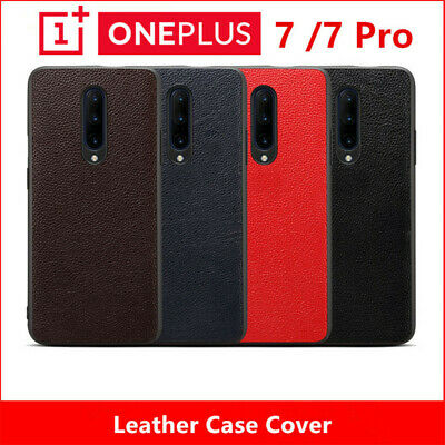 Genuine Leather Ultra Thin Case For OnePlus 7 Pro Soft Silicone Edge Back Cover