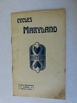 Catalogue ancetre velo cycles : MARYLAND  vers 1910