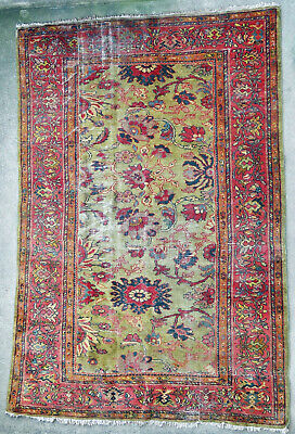 Tapis ancien rug oriental orient tribal ethnique Persan Perse Mahal Pre-1900