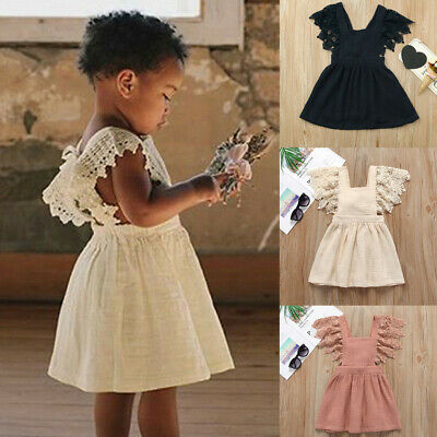 Infant Kid Baby Girl Sleeveless Lace Floral Solid Princess Dress Clothing UK