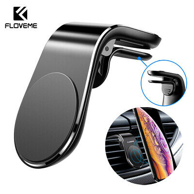 FLOVEME Magnetic Car Phone Holder L Shape Clip Air Vent Mount For Cell Phone GPS