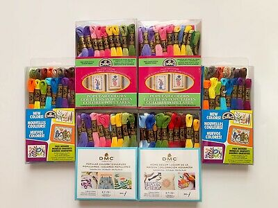 Lot of 6 Boxes (Total 176) DMC Skeins Assorted Colors Embroidery Floss Thread