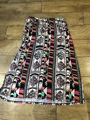 Ladies Next Maternity Elasticated Long Patterned Maxi Skirt Size 14 Vgc