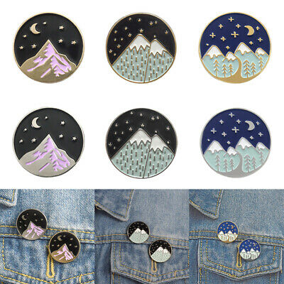 MOUNTAIN FOREST Backpack Accessories Enamel Pin Brooches Denim