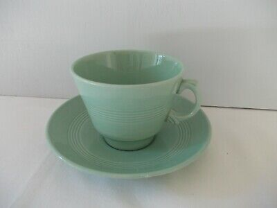 Woods Ware Beryl Green Vintage Tea Cup & Saucer Set