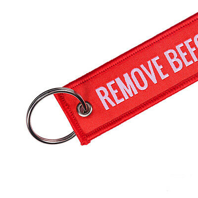 Unisex Fashion Remove Before Flight Car Motorcycle Keychain Embroidery Souvenir