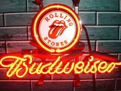 """Budweiser Rolling Stones Neon Light Sign 17""""x14"""" Lamp Beer Bar With Dimmer"""