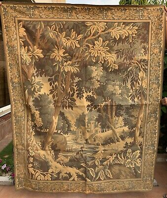 Huge Antique French Tapestry Wall Hanging Aubusson Style - 140 X 175 Cm