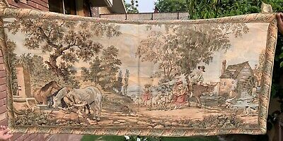 Antique French Tapestry Wall Hanging Aubusson Style - 84  X 168 Cm